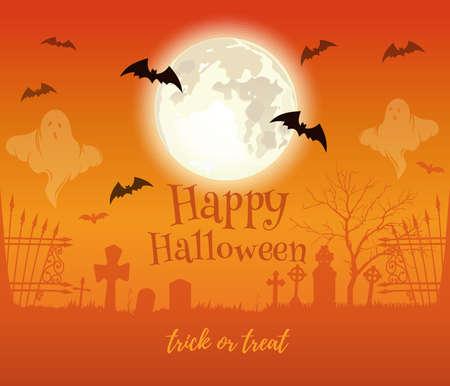 Halloween design. Full moon over haunted cemetery Иллюстрация