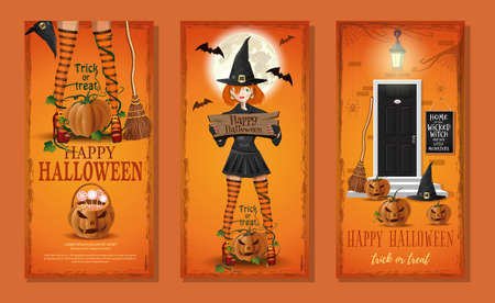 Halloween card with cute witch and jack o lantern Иллюстрация