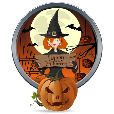 Halloween design. Young witch holding a sign Иллюстрация