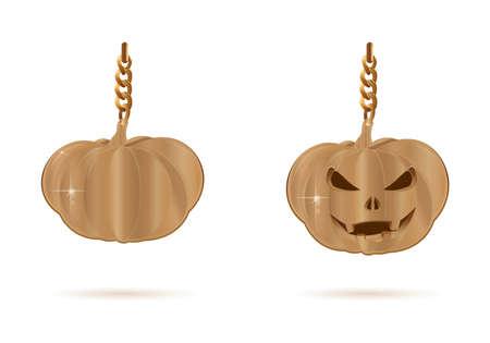 Golden decoration in the form of Jacks lamp Иллюстрация