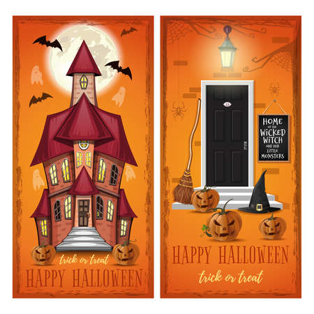 Halloween greeting card set with haunted house