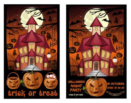 Halloween card set for Halloween night party Иллюстрация