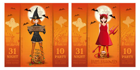 Set of Halloween party invitation vector cards