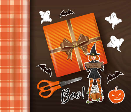 Table with Halloween decorations top view. Vector