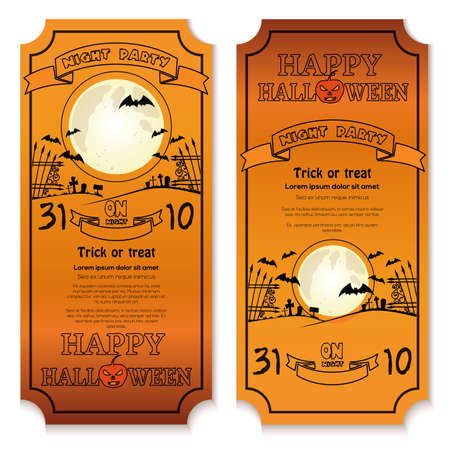 Invitation card on a Halloween night party Иллюстрация