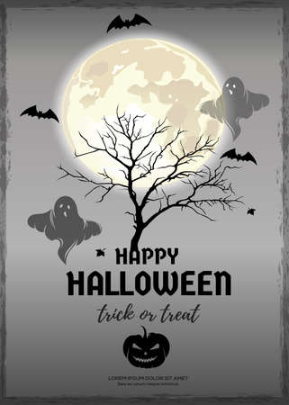 Text banner for Halloween. Vector greeting card Иллюстрация