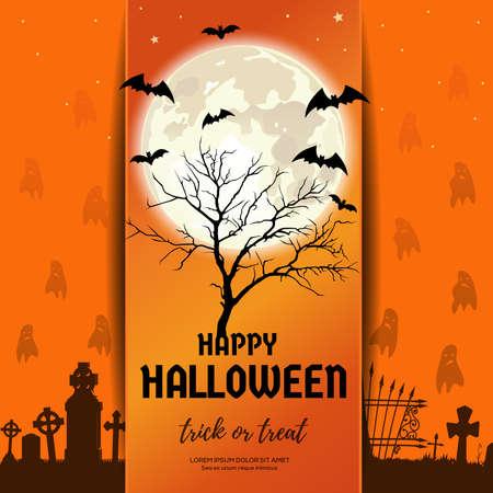 Halloween design. Dry tree against the full moon