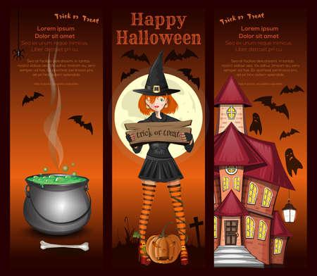 Cute girl in a witch costume. Halloween design Иллюстрация