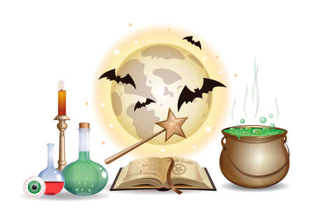 Magic objects set. Wizard laboratory with book