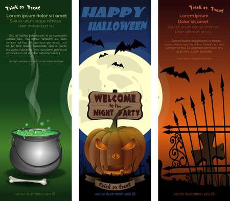 Halloween night cards set vector flyer template Иллюстрация