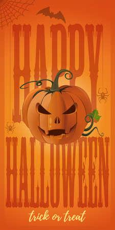Vertical banner for Halloween with Jack o lantern Иллюстрация
