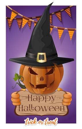 Poster concept design for Halloween. Vector card Иллюстрация