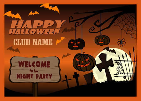 Banner for Halloween night party. Invitation card