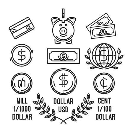 Line icons set on the theme of money Иллюстрация