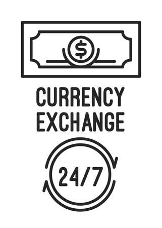 Simple symbols for a currency exchange office