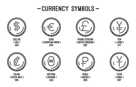 Line coin icons set with currency symbols Иллюстрация