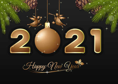 Greeting card for Christmas and New Year 2021 Иллюстрация