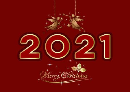 Christmas  design with Christmas gold angels Иллюстрация