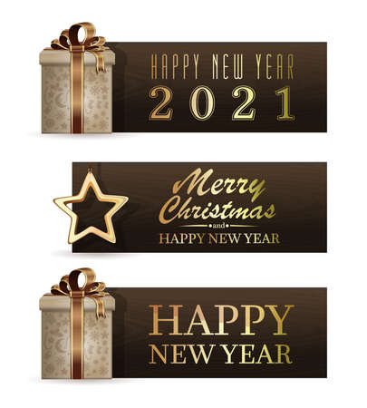 Set of holiday banners for 2021. Vector illustration Иллюстрация
