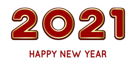 Happy New Year 2021. Vector illustration on white