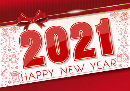New Year card 2021 with red ribbon and bow