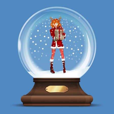 Glass ball with a girl dressed as a Snow Maiden