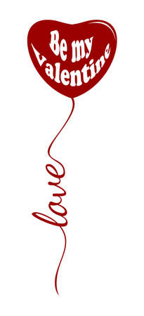 Red heart shaped balloon on white background