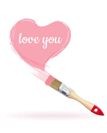 Pink heart with the inscription - I love you. Brush painted heart. Vector illustration