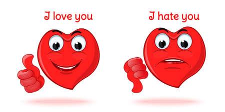 I love you. I hate you. Vector illustration