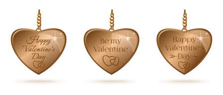 Gold hearts set with Valentines Day lettering Иллюстрация