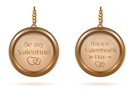 Gold medallions set with Valentines Day lettering Иллюстрация