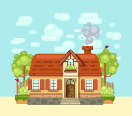 Cozy house in the village. Vector illustration