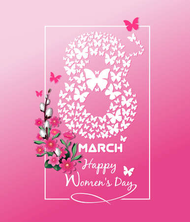 8 March. Festive greeting card for Womens Day