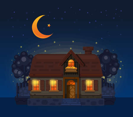 House in the village at night. Vector illustration