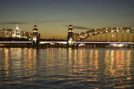 neva: Saint-Petersburg. White nights bridge on the Neva.