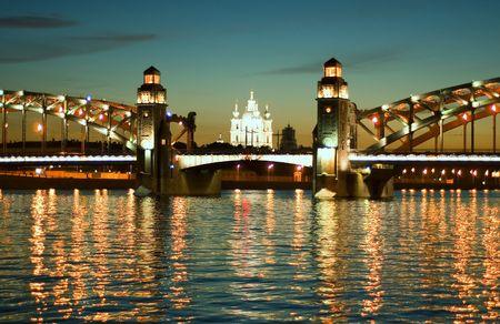 Saint-Petersburg. White nights bridge on the Neva