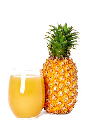 pineapple  glass: glass of pineapple juice and pineapple isolated on white background Stock Photo