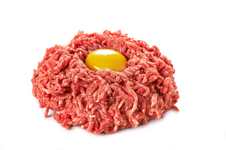 minced meat and egg isolated on white background