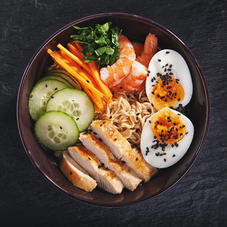 bowl of japanise ramen noodle with chicken. top view Stock Photo - 77046121