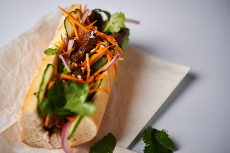 banh mi sanwdiches with beef and carrot Reklamní fotografie