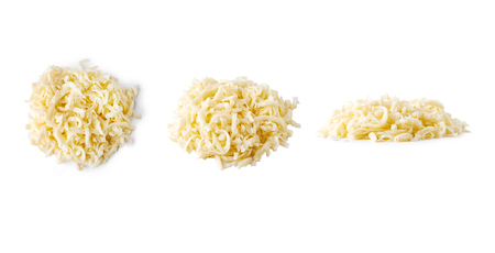 heap of grated mozzarella cheese isolated on white background Stock Photo