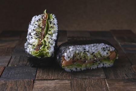 sushi sandwich onigarizu with salnom and avocado