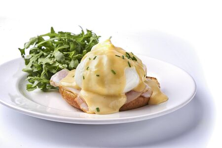 breakfast with egg benedict with bacon