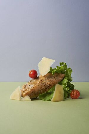 chicken salad still life in minimalystic style Stock fotó