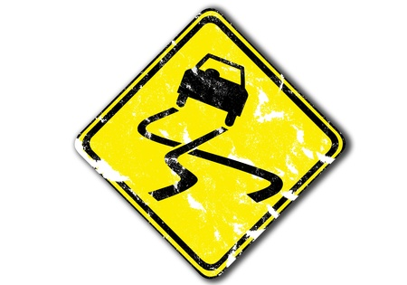 slippery: grunge yellow traffic sign isolated yellow, warning slippery, paper craft