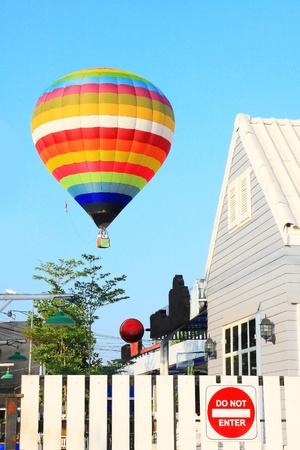 hot air ballon: Colorful Hot Air Balloons in Flight Stock Photo