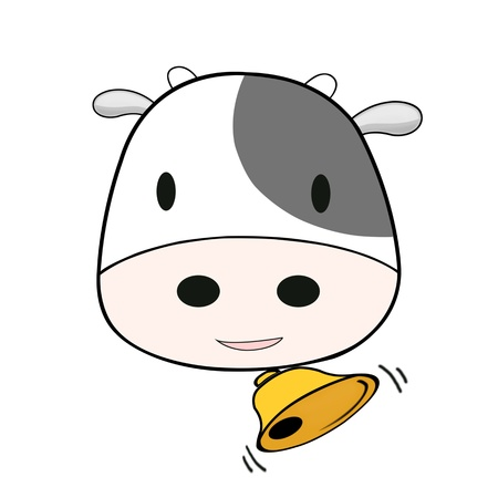 cute cow with bell round neck