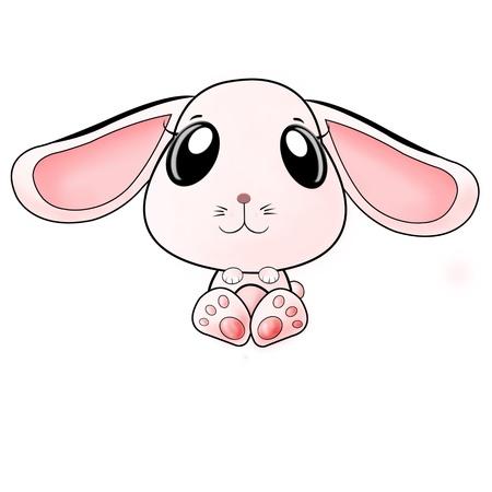 cute pink long ears rabbit isolated on white Standard-Bild