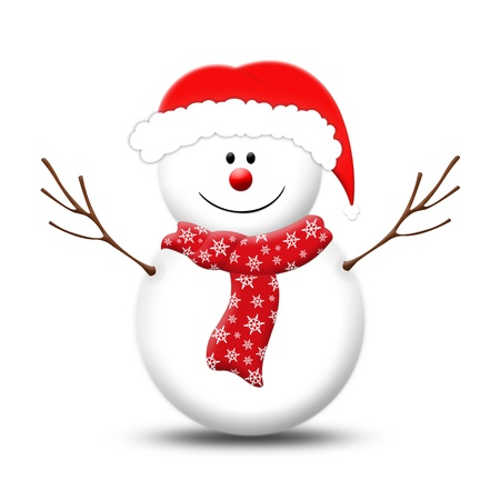 snowman wearing Christmas hat isolated on white photo