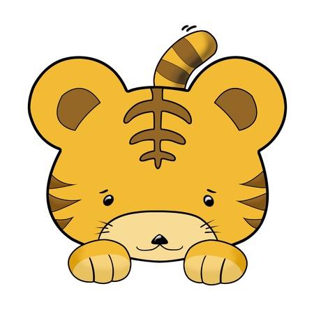 baby tiger: cute baby tigre accovacciata isolato su bianco